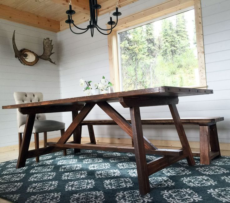 Ana white build a 2x4 truss table for alaska lake cabin for Dining room table 2x4