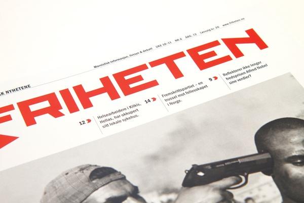 Newspaper design | Friheten by Anne Hilde Taraldstad, via Behance