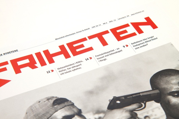 Newspaper design | Friheten by Anne Hilde Taraldstad, via Behance