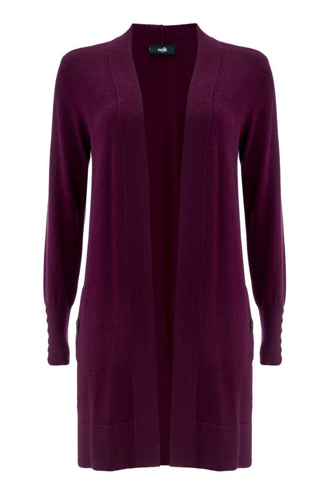 a8221b0c56 Wallis Plum Longline Cardigan Size S UK 8 10 rrp 33 DH181 LL 21  fashion   clothing  shoes  accessories  womensclothing  sweaters (ebay link)