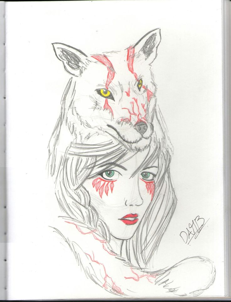 #sketch #girl #fox #draw #drawing