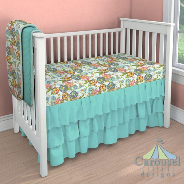 Custom baby bedding in Teal Flower Garden, Solid Teal, Solid Seafoam Aqua. [ NineAndAHalfMonths.com ] #baby