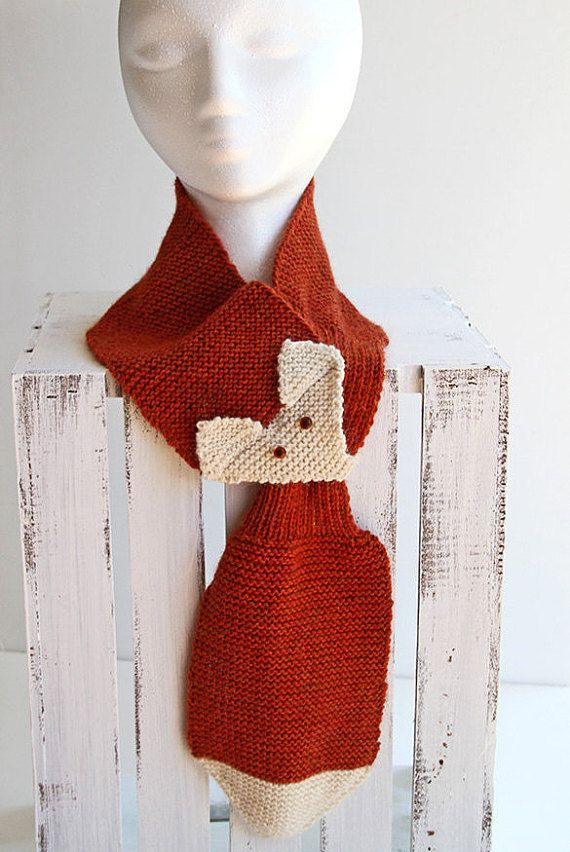 Hand Knit Fox Scarf, Adjustable Neck Warmer with Pull Through Keyhole ...