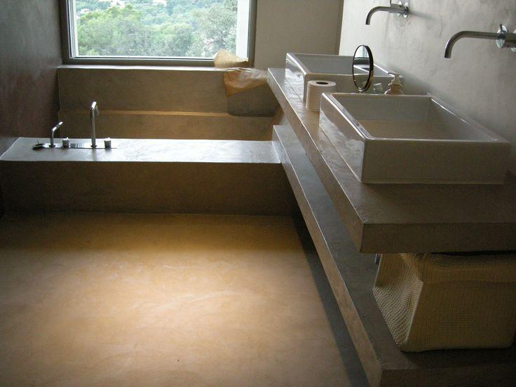 Tinas De Baño De Concreto:Baño de cemento pulido