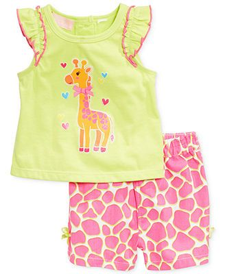 Kids Headquarters Baby Girls' 2-Piece Giraffe Top & Shorts