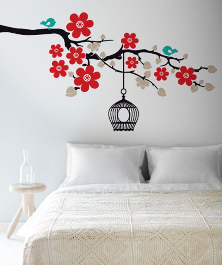 Rama y jaula vinilo adhesivo decoraci n de paredes 89 - Decoracion paredes vinilos adhesivos ...