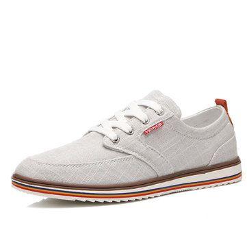 Big Size Men\'s Linen Breathable Lace Up Flat Sport Casual Shoes