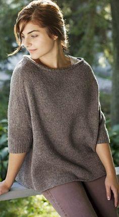 Свободный пуловер спицами