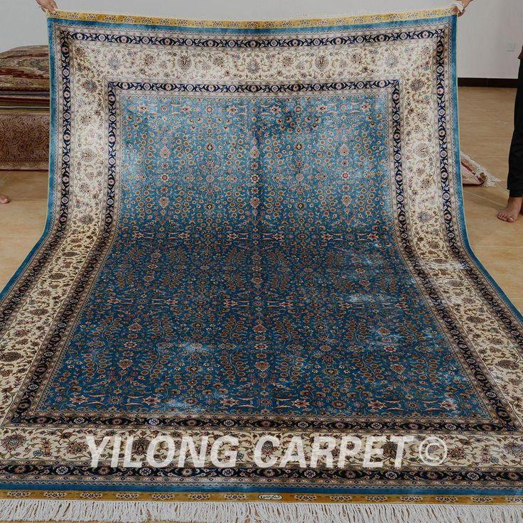 Yilong 6.56'x9.84' Hereke handmade rug gre…