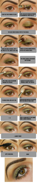 Natural Olive Green Eyeshadow Tutorial