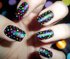 Rainbow dotsNails Art Ideas, Nailart, Polkadot, Nailsart, Polka Dots Nails, Black Nails, Nails Polish, Matte Black, Colors Fashion