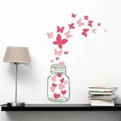 Cuori e Farfalle Hearts and Butterflies Wall Sticker Adesivo da Muro