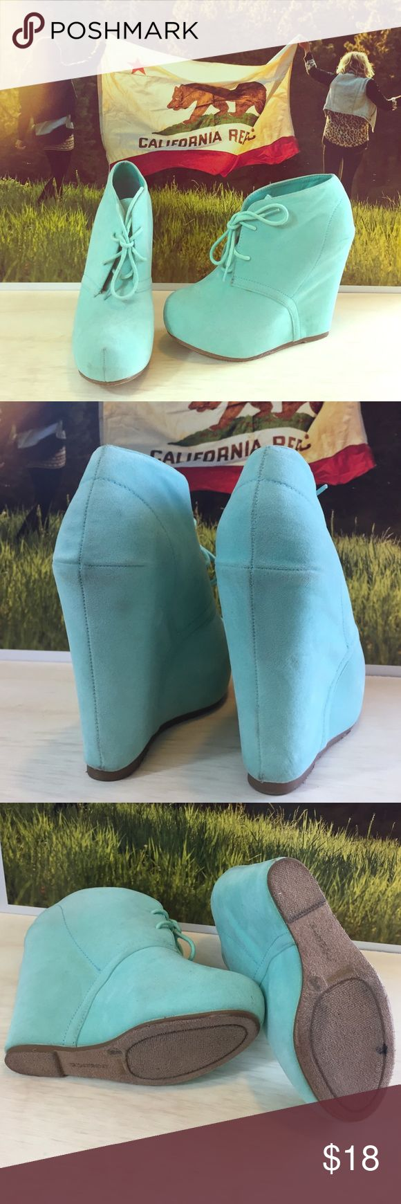 "Bamboo Mint Wedges *Measures 5"" from base to heel* Bamboo Shoes Wedges"