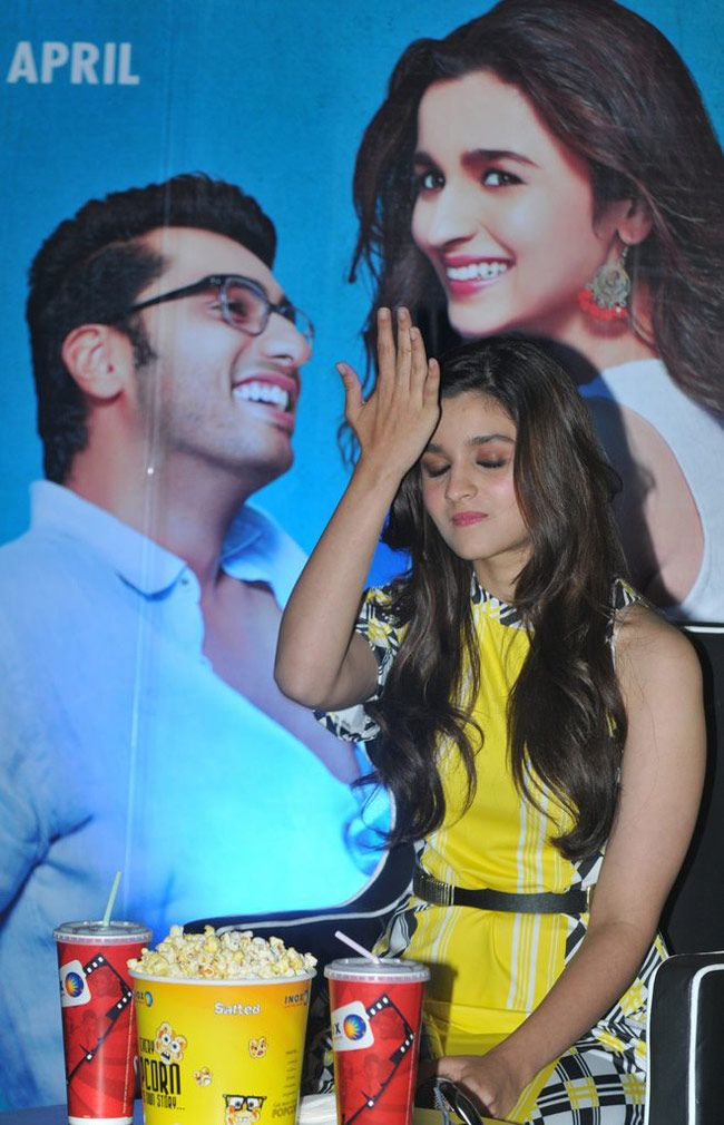 Alia Bhatt strikes an irritated pose as fans look on during '2 States' promotions in Kolkata. #Style #Bollywood #Fashion #Beauty