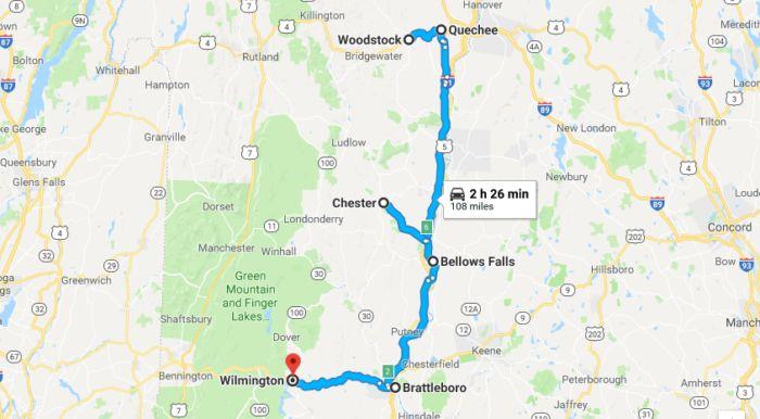 Vermont Antiques Road Trip Map