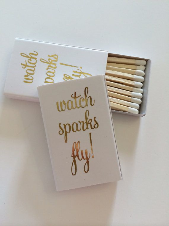 Watch Sparks Fly matchbox Wedding Favor by ohgoodiedesigns on Etsy, $45.00
