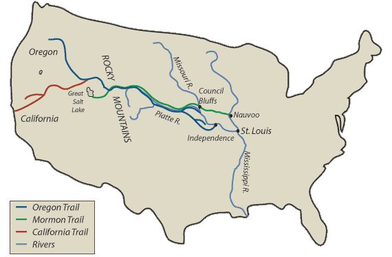 This is a map of the Mormon Trail. People traveled from Illinois to Utah on the Mormon Trail because they were pushed out do to there religion and what they believed in.