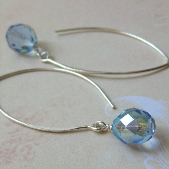 Pale blue earrings faceted czech glass sterling by planettreasures