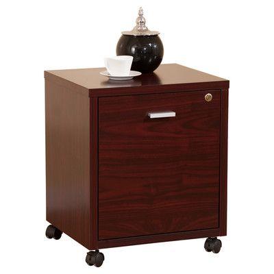 Hokku Designs 1 Drawer Collin Single Equipment Trolley/File Cabinet Finish: Mahogany