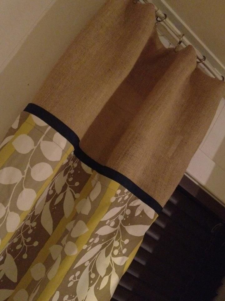DIY curtain. Love the idea of mixing a pattern and solid color.