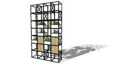 3D Model of GRID Configuration with plant boxes and oak veneer panels