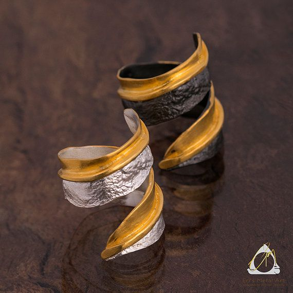 Adjustable two-tone Eucalyptus ring handmade from sterling silver plated in black and/or gold