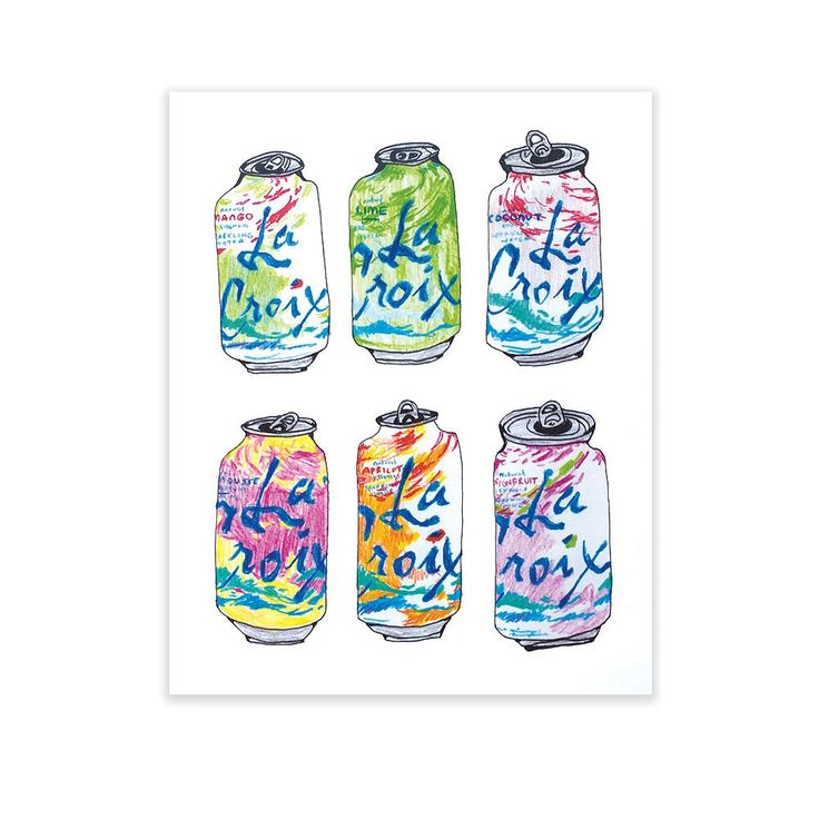 Quench your thirst with this beautiful print of everyone's bubbly favorites by local artist Melanie Jeanne Plank. Done entirely with pen & pencil, this print is a colorful and quirky addition to any r