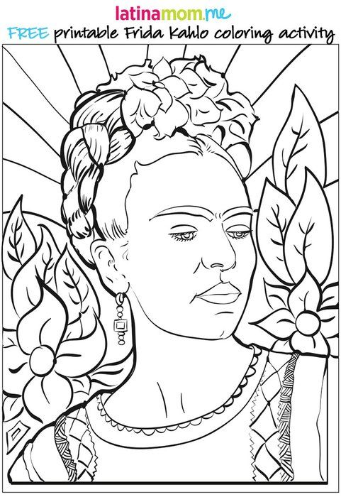 Free #FridaKahlo Printable Download: Celebrate Mexican artist Frida Kahlo with this fun #coloring activity for #kids  #frida #mexico #art #arthistory