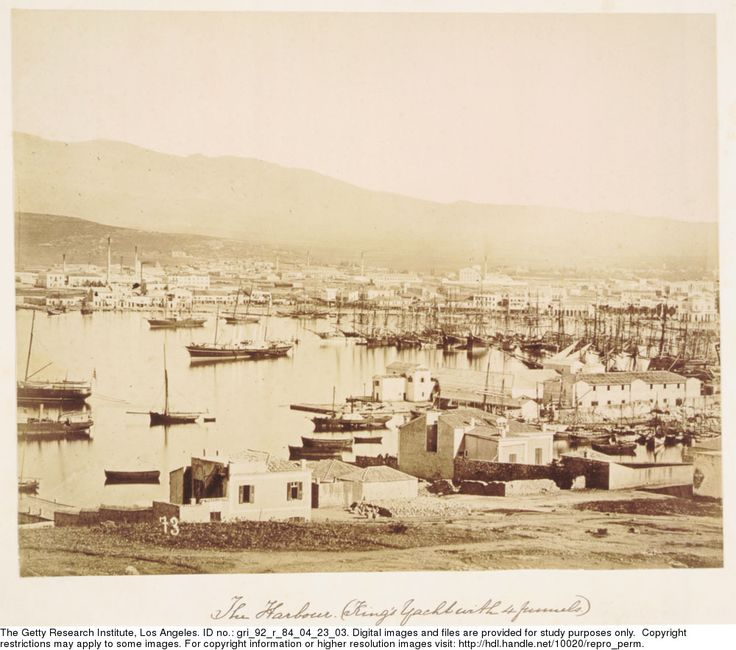 """Harbour, 1889  Athanasiou, Konstantinos (fl. 1875-1905), photographer. """"The Harbour, April 4th 1889 (King's yacht with 4 funnels)""""--caption on mount.  Gary Edwards collection of photographs of Greece"""