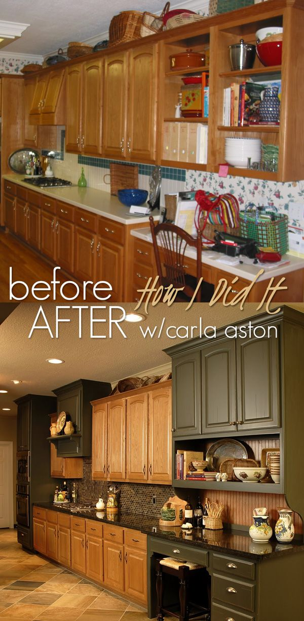 What To Do With Oak Cabinets ➤ http://CARLAASTON.com/designinthewo/2011/09/what-to-do-with-oak-cabinets.html