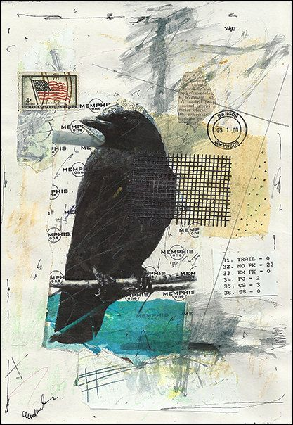 Resting raven  Original Mixed media collage By Mirel by rcolo, $6.91