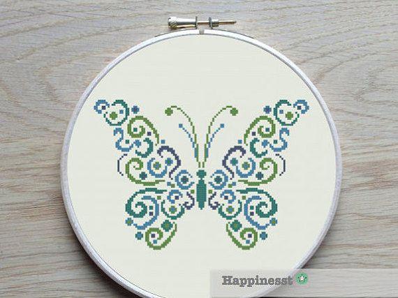 Cross stitch patroon vlinder moderne kruissteek PDF door Happinesst