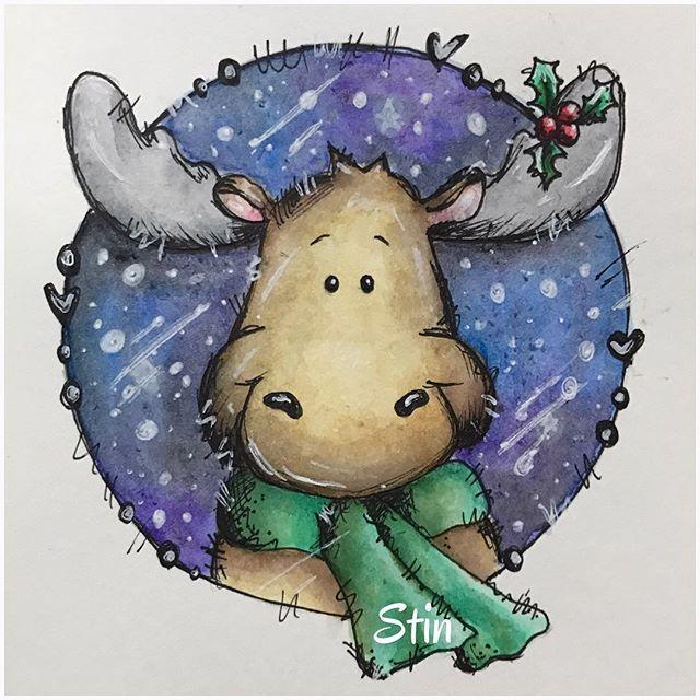 💚💙💜 •••••••••••••••••••••••••••• #artsyadventcalendar #weihnachten #aquarell #aquarellfarben #aquarellkasten #winsorandnewton #zigcolorrealbrushmarker #zeichnen #malen #christmas #christmastime #nofilter #elch