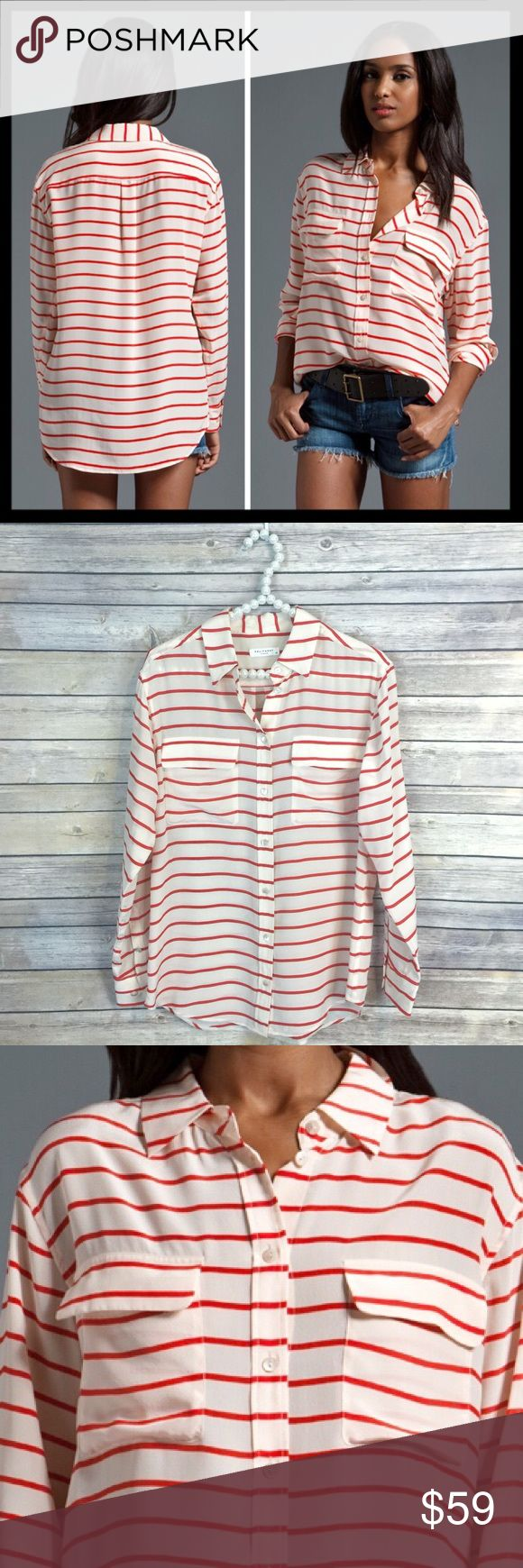 equipment // north sails stripe 100% silk blouse This signature silk boyfriend blouse by Equipment has a nautical yet polished vibe. It has the classic drape and silhouette that we have come to love. 100% silk. Fiery red and fawn colorway. Only worn once and in excellent condition. Equipment Tops Blouses