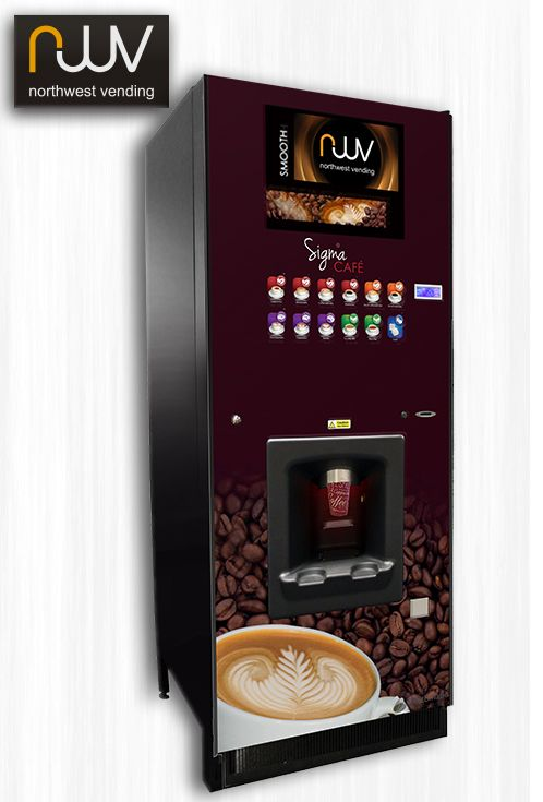Westomatic Sigma Cafe, this british built hot beverage vending machine is a cafe in a box! It offers large 12oz barista style drinks from a simple touch button menu. It features a large 20 inch media screen to display branding images or HD videos. The 10 bar espresso brewer delivers punchy espresso, foamy cappuccino and creamy lattes. Whats more it serves fresh leaf tea and velvety chocolates too. #Westomatic #Westomatic Sigma Cafe #Espresso #Coffee
