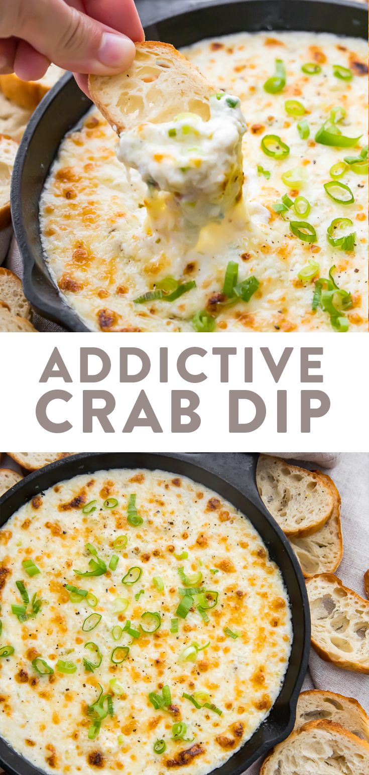 This crab dip is truly addictive! It's a super easy and ultra delicious, rich and creamy appetizer made with crab, green onions, cream cheese, mayo, and cheese. Served with crackers, chips, or bread for the best tailgating, holiday, or party dish. Low carb, keto, gluten free. #appetizer #dip #tailgating #entertaining #keto