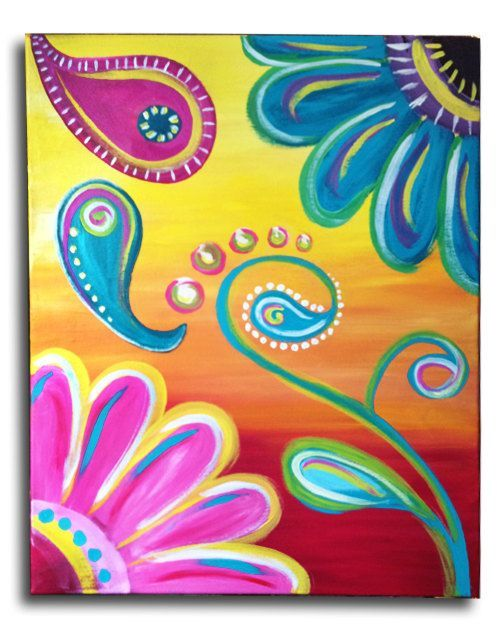 Paisley Flower Power Original acrylic on by ArstyFartsyMommaBear. Customize your flower colors.