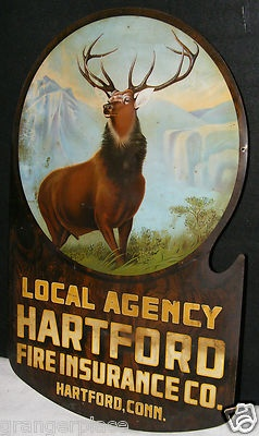 VINTAGE HARTFORD CONN FIRE INSURANCE SIGN ANTIQUE ELK DEER NATURE METAL SIGN | ebay