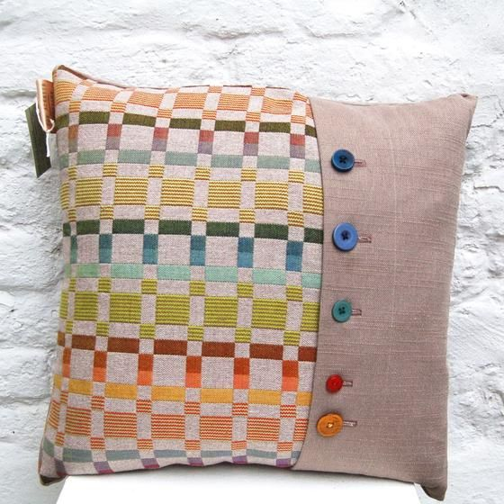 Green Geometric Cushion handwoven cushion by Zoe Acketts, available to buy online or at Golden Hare Gallery in Ampthill, Bedfordshire