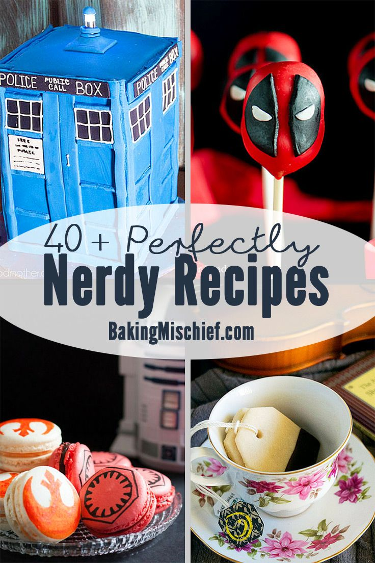 40+ perfectly nerdy recipes inspired by books, television, and movies. Recipes for everything from 'Game of Thrones' and 'The Walking Dead' to 'Star Wars' and the Marvel Cinematic Universe! From BakingMischief.com