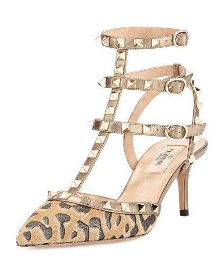NWB VALENTINO Rockstud Shoes Leopard bronze SIZE 8 Retail $1,350 #Valentino #Sandals