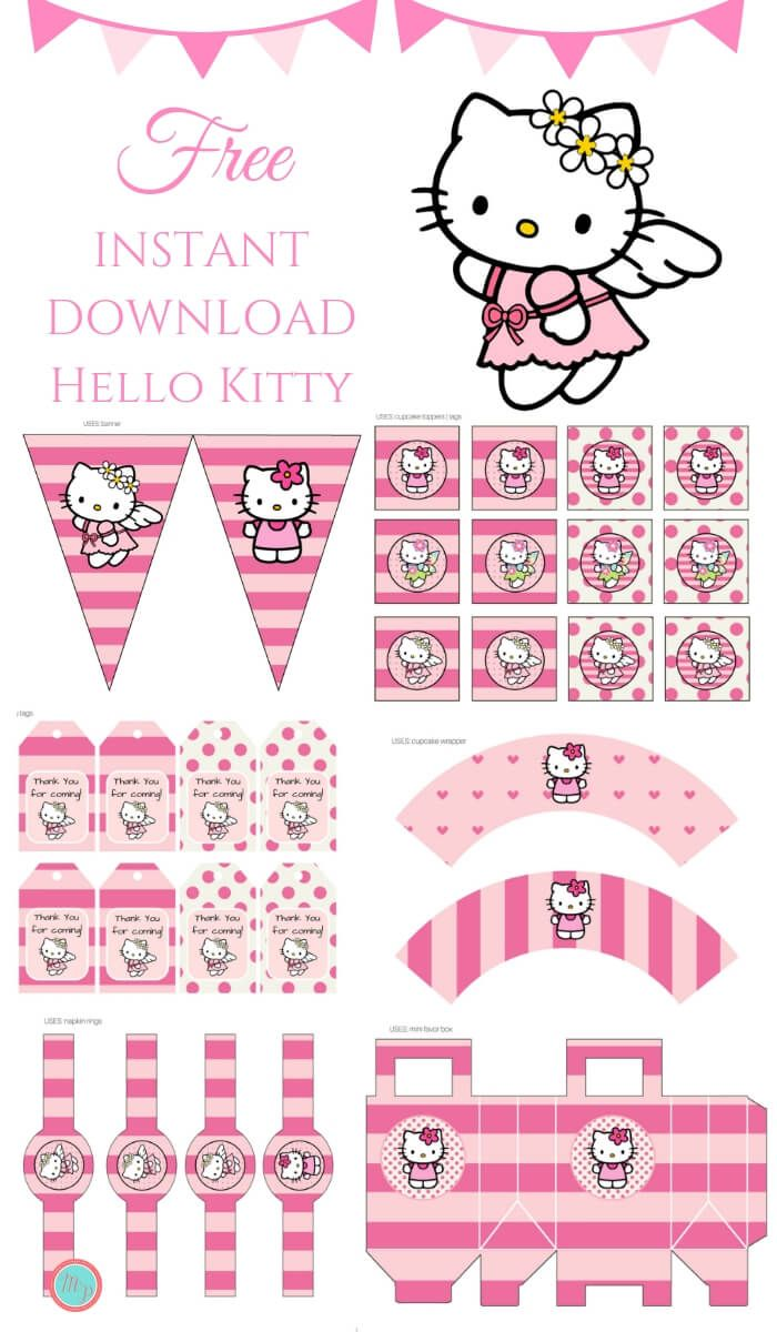 Free Pink Hello Kitty Party Printable Magical Printable Hello Kitty Theme Party Hello Kitty Birthday Party Hello Kitty Printables