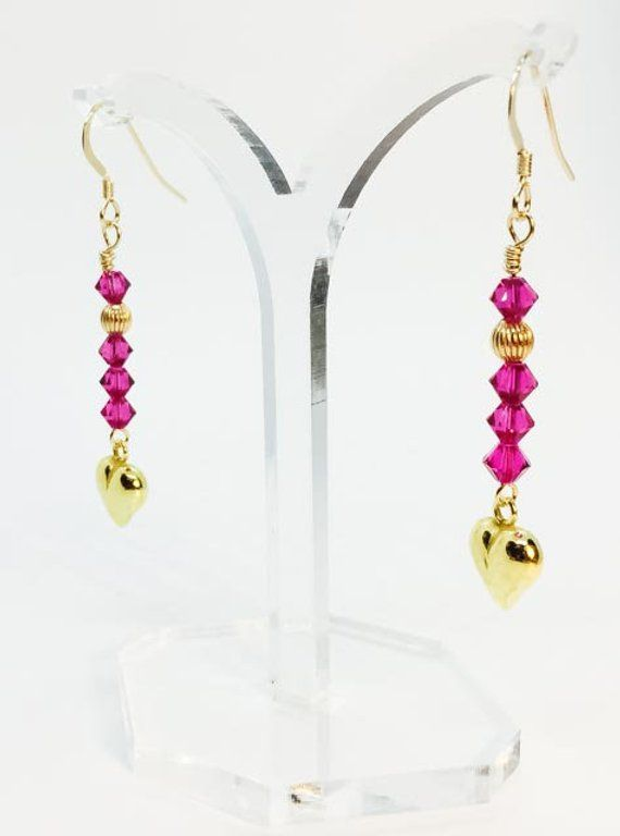 a211d4aa0 Handmade elegant hoop earrings with super sparkle of deep pink Swarovski  crystals and 24k gold plated sterling silver heart charm and gold-filled  hoops.