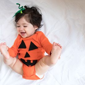 Baby pumpkin DIY baby costume - Browse simple, no-sew kids and baby DIY Halloween costume ideas and shop for costume basics in solid colors and super soft cotton! All under $25 and always FREE shipping, only at Primary.