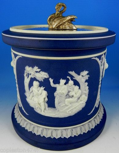 Wedgwood Jasper Dip Tobacco Jar with Silver Lid Swan Finial
