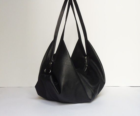 Black leather bag Soft leather bag Slouchy leather by Laroll