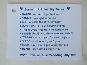 Details About Groom Survival Kit Fun Present Novelty Gift From Bride On Wedding Day For