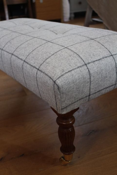 Hand sprung and traditionally upholstered footstool