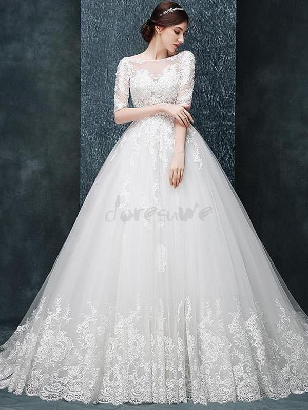 Doresuwe.com SUPPLIES 新作袖付き背中開きのトレーン豪華ウェディングドレス 花嫁ドレス 2016 ウェディングドレス (6)