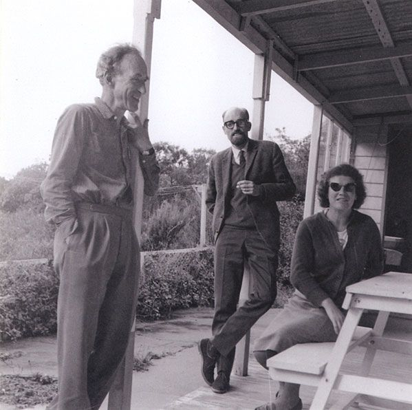 Photograph by Ruth Dallas shows Janet Frame, Charles Brasch and C.K. Stead at Braschs cottage, Broad Bay Otago Penninsula, in 1966